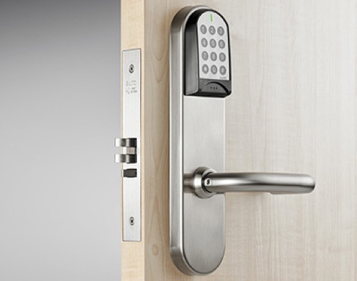 SALTO Lock with Keypad above the handle.